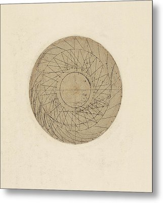 Study Of Water Wheel From Atlantic Codex Metal Print by Leonardo Da Vinci