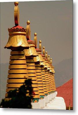 Stupas In A Buddhist Monastery Metal Print by Jaina Mishra