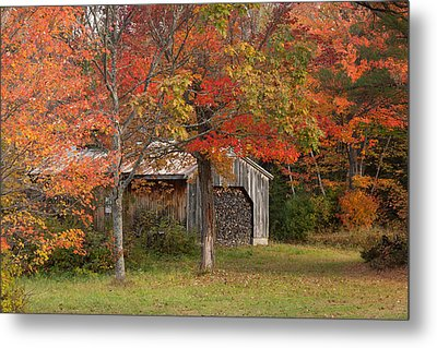 Sugarhouse In Autumn Metal Print