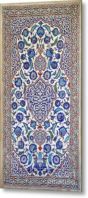 Sultan Selim II Tomb 16th Century Hand Painted Wall Tiles Metal Print by Ralph A  Ledergerber-Photography