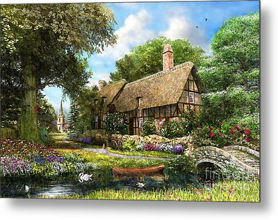 Summer Country Cottage Metal Print by Dominic Davison
