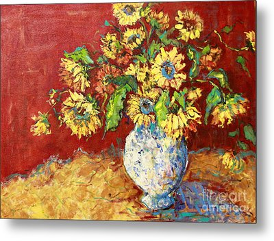Sun Drenched Sunflowers Metal Print by Sharon Furner