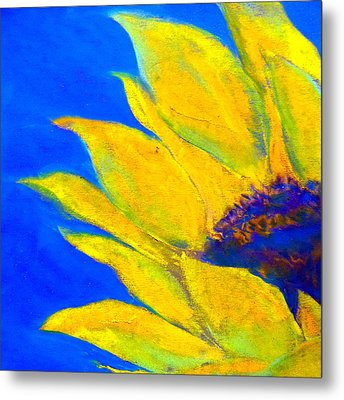Sunflower In Blue Metal Print by Sue Jacobi