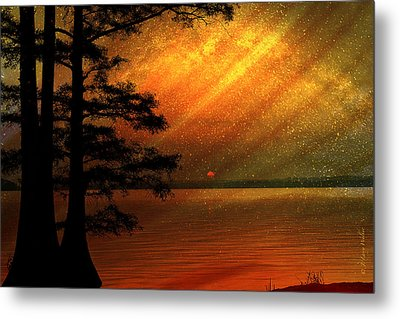 Metal Print featuring the digital art Sunrise At Reelfoot Lake by J Larry Walker