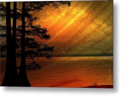 Sunrise At Reelfoot Lake Metal Print by J Larry Walker