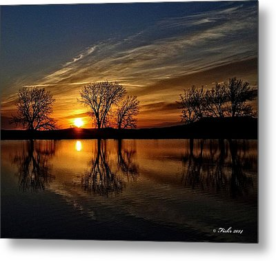 Sunrise At The Fishing Hole Metal Print by Fiskr Larsen