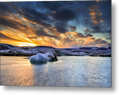 sunset at Jokulsarlon iceland Metal Print