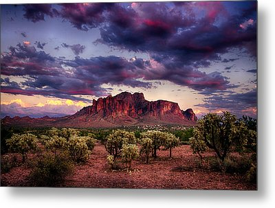 Sunset At The Superstitions  Metal Print