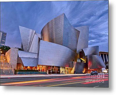Sunset At The Walt Disney Concert Hall In Downtown Los Angeles. Metal Print by Jamie Pham