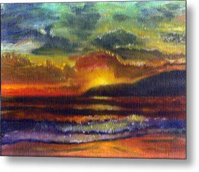 Sunset Beach Metal Print by Linda Pope