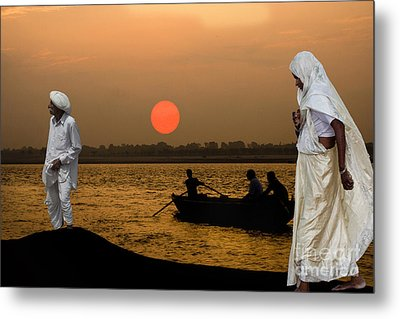 Sunset On Ganges Metal Print by Angelika Drake