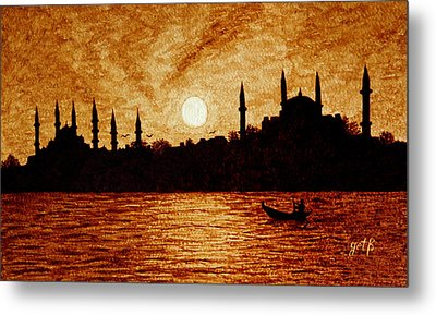 Metal Print featuring the painting Sunset Over Istanbul Original Coffee Painting by Georgeta  Blanaru