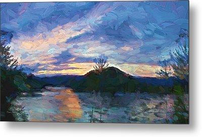 Sunset Pano - Watauga Lake Metal Print by Tom Culver