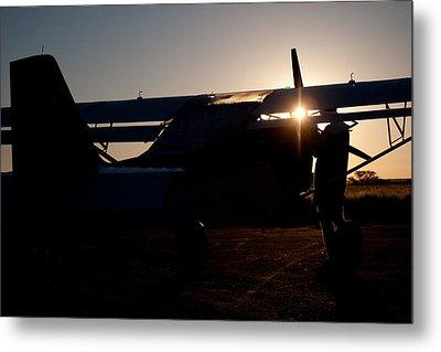 Sunset Plane Metal Print by Paul Job