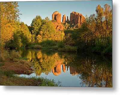 Sunset, Reflections, Oak Crek Metal Print by Michel Hersen