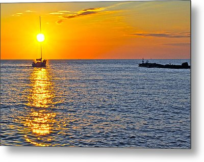Sunset Sailing Metal Print by Frozen in Time Fine Art Photography