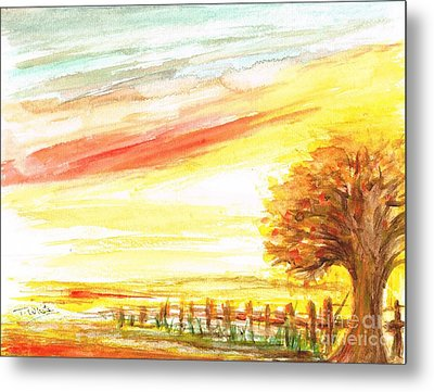 Metal Print featuring the painting Sunset by Teresa White