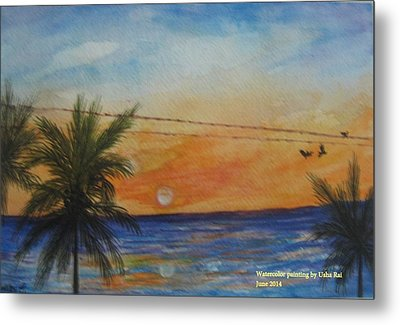 Sunset Metal Print by Usha Rai