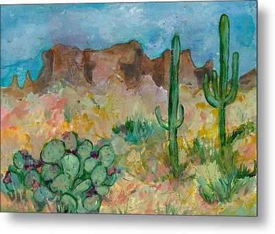 Metal Print featuring the painting Superstition Mountains Arizona by Elaine Elliott
