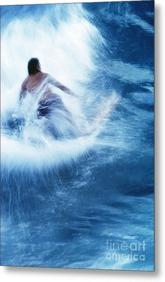 Surfer Carving On Splashing Wave, Interesting Perspective And Blur Metal Print by Carl Shaneff