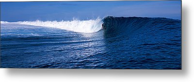 Surfer In The Sea, Tahiti, French Metal Print by Panoramic Images