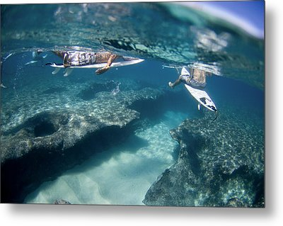 Surfers Over Reef. Metal Print by Sean Davey