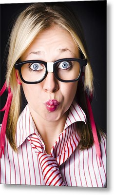 Surprised Business Woman With Thinking Expression Metal Print by Jorgo Photography - Wall Art Gallery