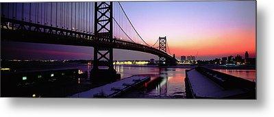 Suspension Bridge Across A River, Ben Metal Print by Panoramic Images