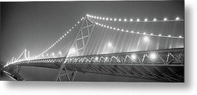 Suspension Bridge Lit Up At Night, Bay Metal Print