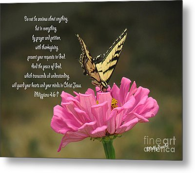 Swallowtail On A Zinnia Metal Print by Debby Pueschel