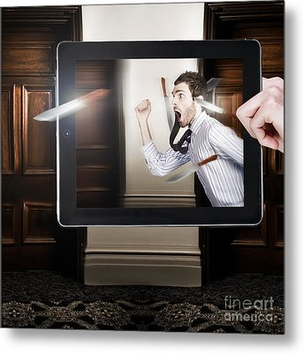 Tablet Display Playing Funny Interactive Movie Metal Print by Jorgo Photography - Wall Art Gallery