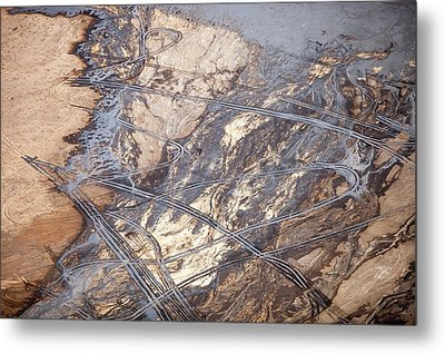 Tailings Pond At A Tar Sands Mine Metal Print by Ashley Cooper