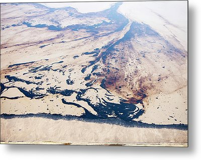 Tailings Pond At Syncrude Mine Metal Print by Ashley Cooper