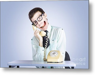 Talkative Nerd Man With Big Mouth Metal Print by Jorgo Photography - Wall Art Gallery