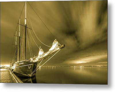 Tall Ship In The Lights Of Toronto Metal Print by Nick Mares