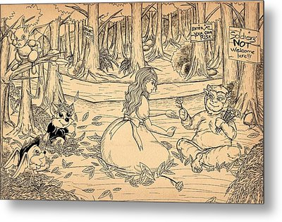 Metal Print featuring the drawing Tammy And The Baby Hoargg by Reynold Jay