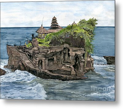 Metal Print featuring the painting Tanah Lot Temple Bali Indonesia by Melly Terpening
