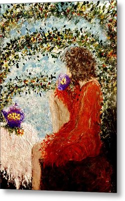 Metal Print featuring the painting Tea Time... by Cristina Mihailescu