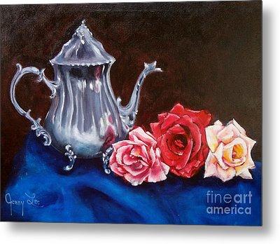Teapot And Roses Metal Print