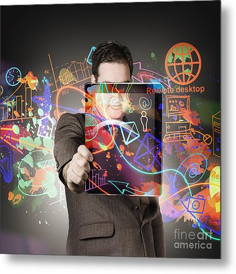 Technology Man With Network On Digital Tablet Metal Print
