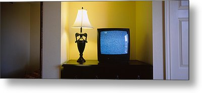 Television And Lamp In A Hotel Room Metal Print by Panoramic Images