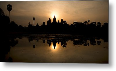 Temple At The Lakeside, Angkor Wat Metal Print by Panoramic Images
