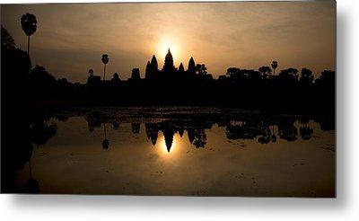 Temple At The Lakeside, Angkor Wat Metal Print