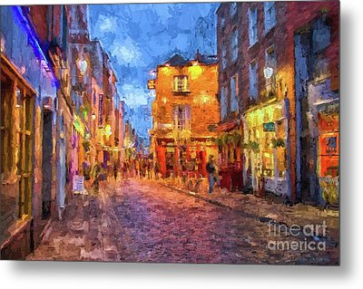 Temple Bar District In Dublin At Night Metal Print