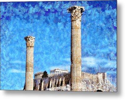 Temple Of Olympian Zeus And Acropolis Metal Print by George Atsametakis