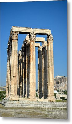 Temple Of Olympian Zeus And Acropolis In Athens Metal Print by George Atsametakis