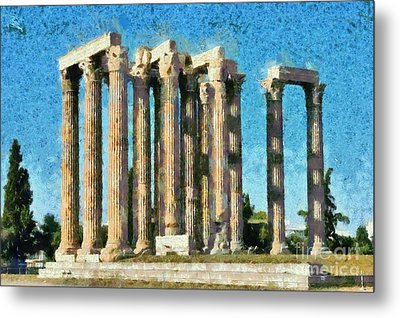 Temple Of Olympian Zeus  Metal Print by George Atsametakis