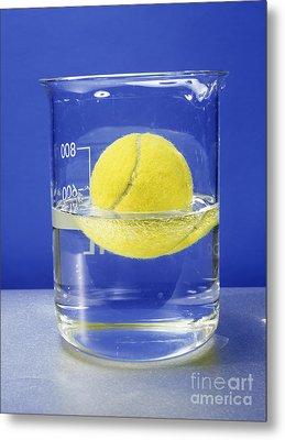 Tennis Ball Floating In Water Metal Print