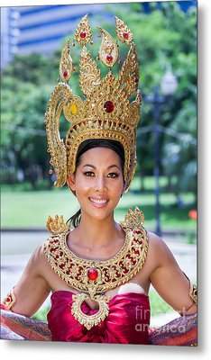 Thai Woman In Traditional Dress Metal Print by Fototrav Print