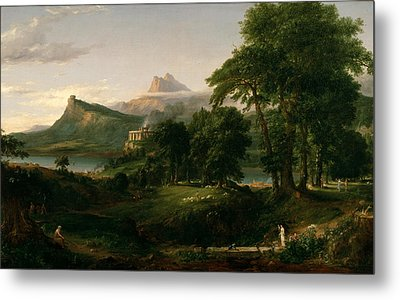 The Course Of Empire The Arcadian Or Pastoral State Metal Print by Thomas Cole